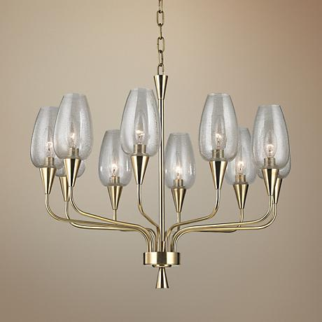 "Hudson Valley Longmont 25 1/4"" Wide Aged Brass Chandelier"