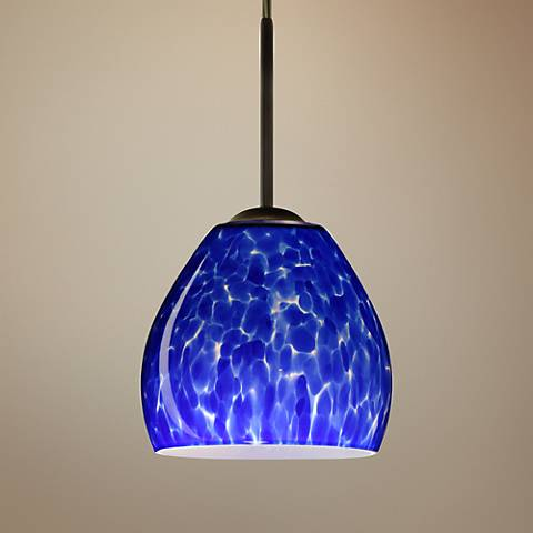 "Besa Bolla 5 3/4""W Bronze Blue Cloud Glass LED Mini Pendant"