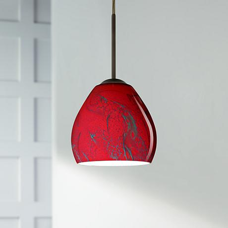 "Besa Bolla 5 3/4"" Wide Bronze Magma Glass LED Mini Pendant"