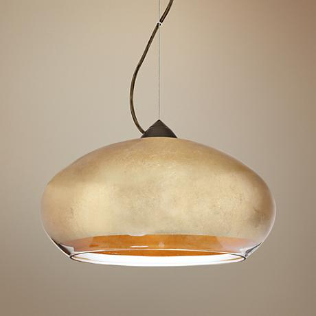 "Besa Brio 13 3/4""W Bronze Gold Foil Glass LED Pendant Light"