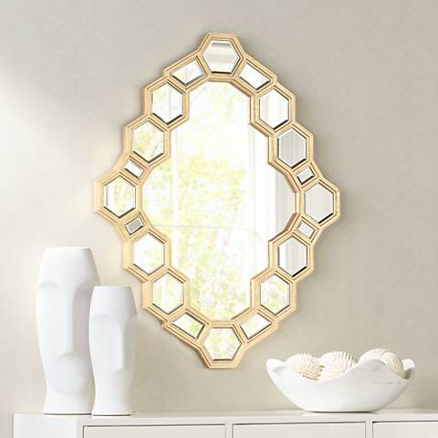 "Golden Hive 30 1/2"" x 38"" Wall Mirror"