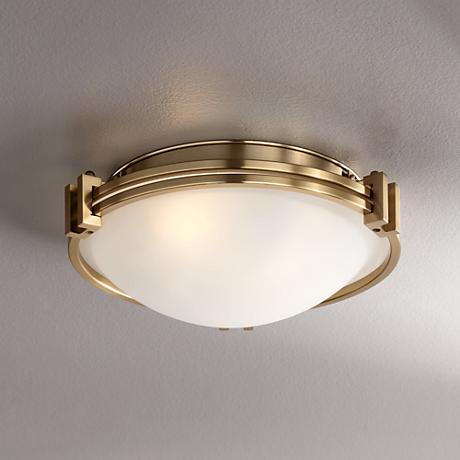 "Possini Euro Deco 12 3/4"" Wide Warm Brass Ceiling Light"