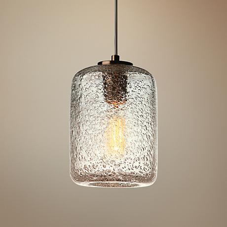 "Potrero Clear Seeded Glass 6"" Wide Mini Pendant"