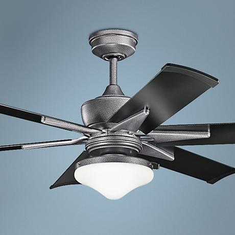 "52"" Szeplo Opal Glass Steel - Black Outdoor Ceiling Fan"