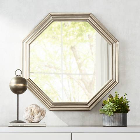 "Chancellor Silver 30 1/4"" x 30 1/4"" Octagon Wall Mirror"