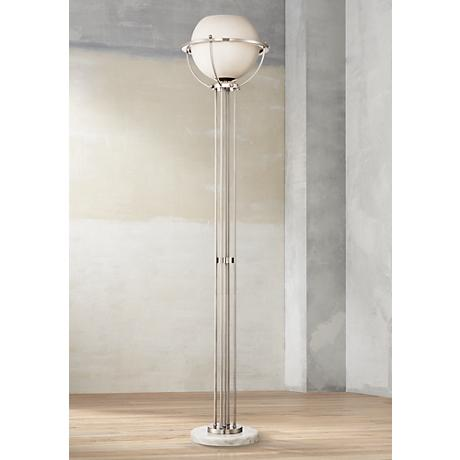 euro globe brushed nickel torchiere floor lamp 1g321 lamps plus. Black Bedroom Furniture Sets. Home Design Ideas