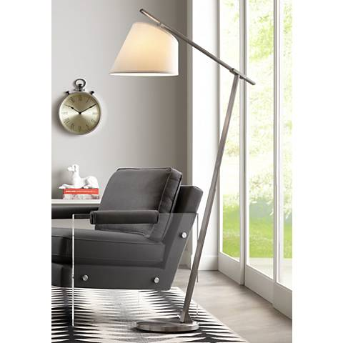 Possini Euro Kayleigh Brushed Steel Arc Floor Lamp
