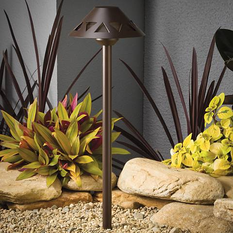 "Kichler Triangle Cut-Out 21""H Bronze 3000K LED Path Light"