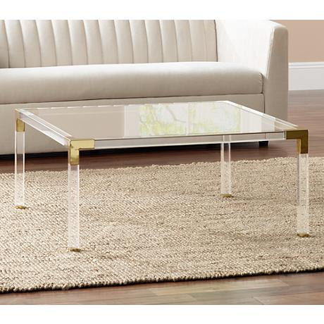 Erica square clear acrylic coffee table with gold corners 1g405 Acrylic clear coffee table