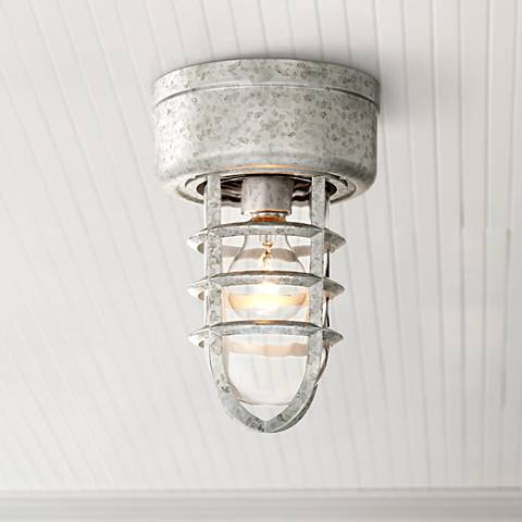 "Marlowe Galvanized 10 3/4"" High Metal Cage Ceiling Light"