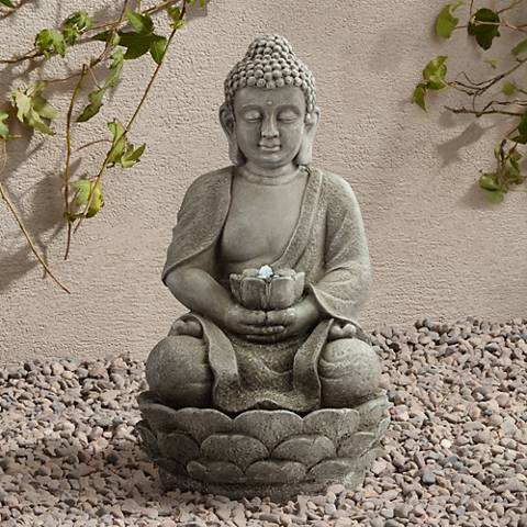 "Sitting Buddha 22"" High LED Faux Stone Outdoor Fountain"