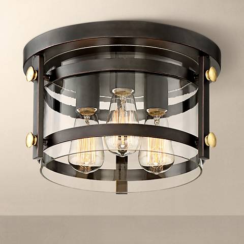 "Eagleton 13 1/2"" Wide Oil-Rubbed Bronze Ceiling Light"