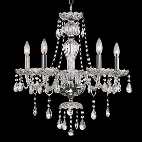 "Genovo Clear Crystal 21 1/2"" Wide 5-Light Chrome Chandelier"