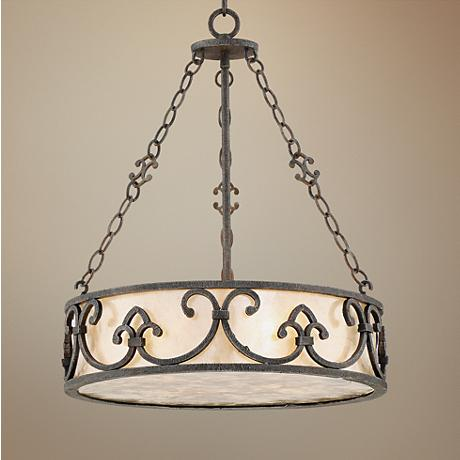 "Arba 18"" Wide Bronze Mica Pendant Light"