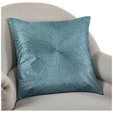 "Shimmering Starburst Teal Blue 20"" Square Throw Pillow"