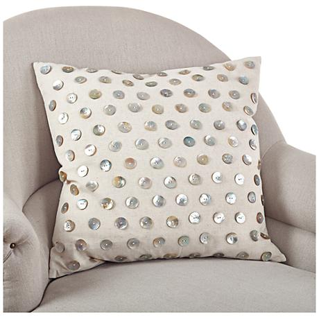 "Dotted Mother of Pearl 20"" Square Throw Pillow"