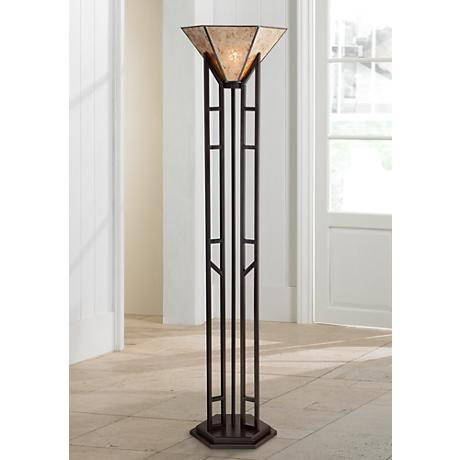 Franklin Iron Works Fletcher Iron Torchiere Floor Lamp