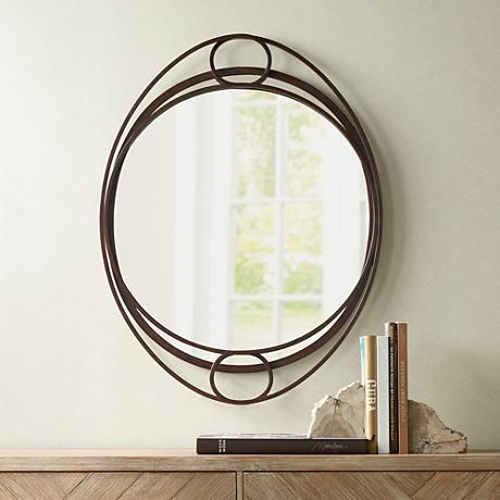 "Hester Brown Scroll 26""x34"" Oval Wall Mirror"