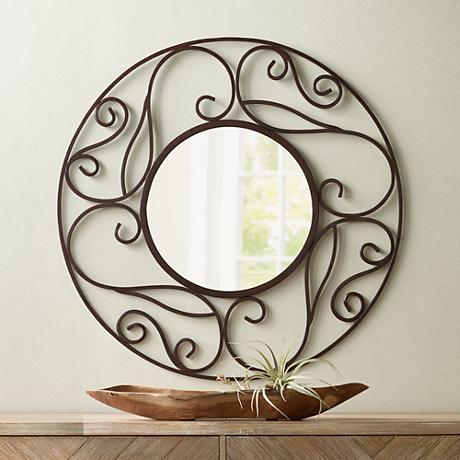 "Balta Brown Scroll 36"" Round Wall Mirror"