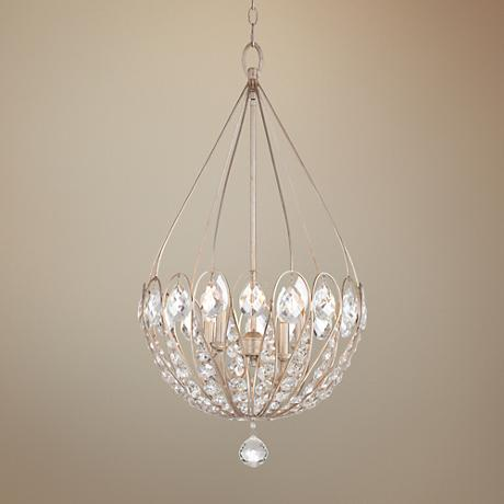 "Ilano 4-Light Silver Leaf 18"" Wide Crystal Pendant Light"