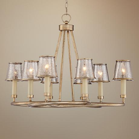 "Albesa 34"" Wide 8-Light Silver Leaf Chandelier"
