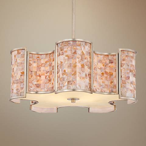 "Valtines Silver Leaf 25"" Wide 5-Light Chandelier"