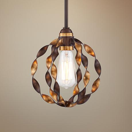 "Demetria 8"" Wide Twisted Metal Mini Pendant Light"
