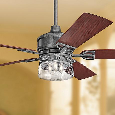 "60"" Lyndon Patio Weathered Steel Outdoor Ceiling Fan"