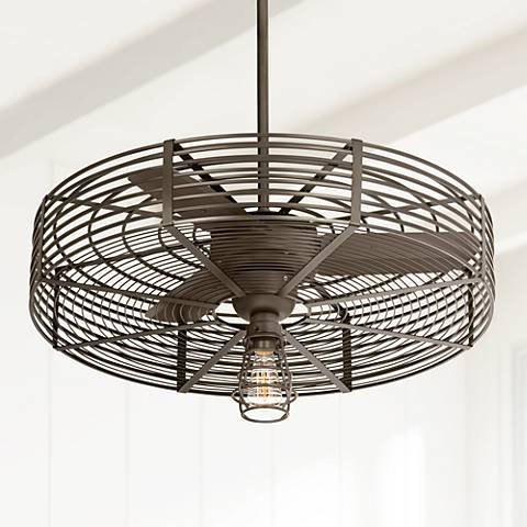 "32"" Vintage Breeze 1-Light Bendlin Cage Ceiling Fan"