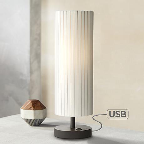 Heyburn Bronze Table Lamp With Outlet And USB Port