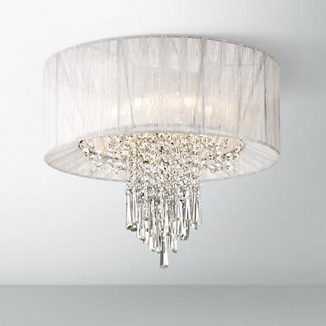 "Hallie 15 3/4"" Wide Clear Crystal Silver Ceiling Light"