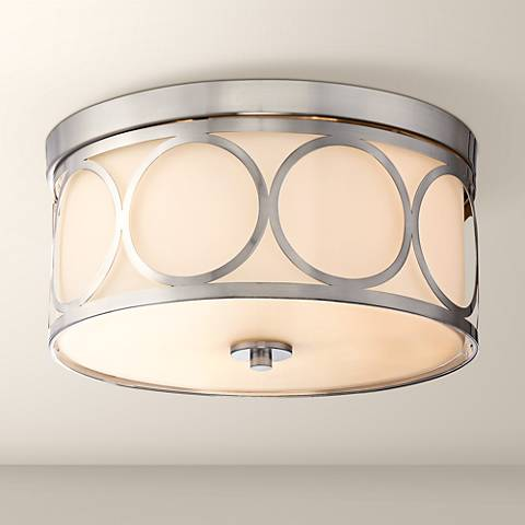 "Possini Euro Raabe 12 1/2""W Brushed Nickel Ceiling Light"