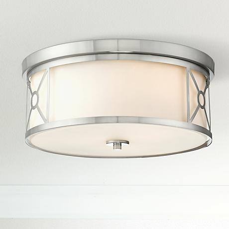 "Possini Euro Ribbey 15""W Brushed Nickel Ceiling Light"