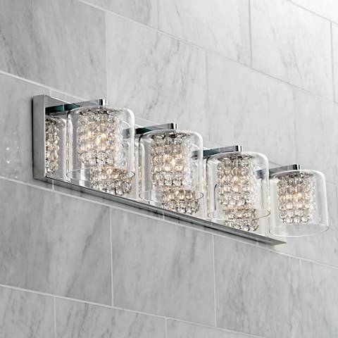 Possini euro coco 4 light 28 1 2 w clear crystal bath light 1h661 lamps plus for How to clean pitted chrome bathroom fixtures