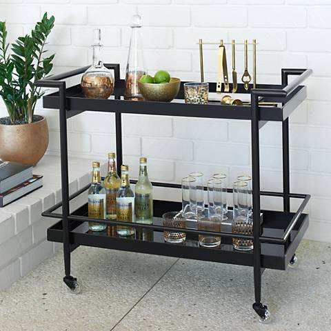 Livingston Black Glass 2-Shelf Rolling Bar Trolley