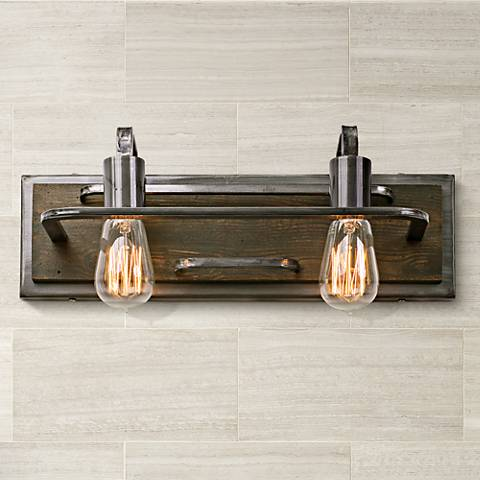 "Varaluz Lofty 17 1/4"" Wide Steel and Wood Bath Light"