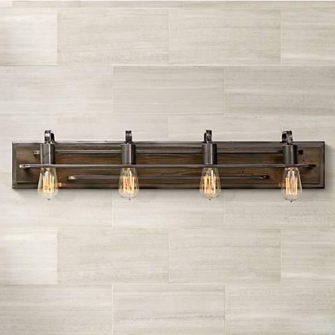 "Varaluz Lofty 34 1/4"" Wide Steel and Wood Bath Light"