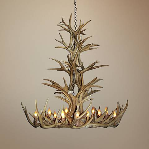 "Mule Deer 34-35""W 12-Light Natural-Shed Antler Chandelier"