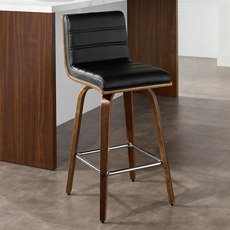 "Vienna 26"" Black and Walnut Counter Stool"