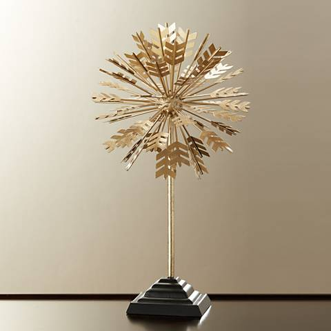 "Arrow Starburst 17 1/2"" High Vintage Gold Accent Sculpture"