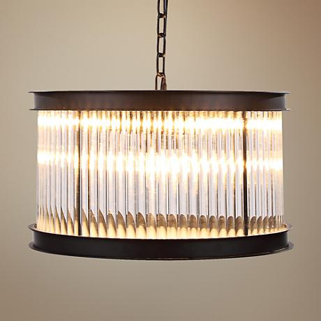 "Royale Mocha Brass 20"" Wide Clear Glass Pendant Light"