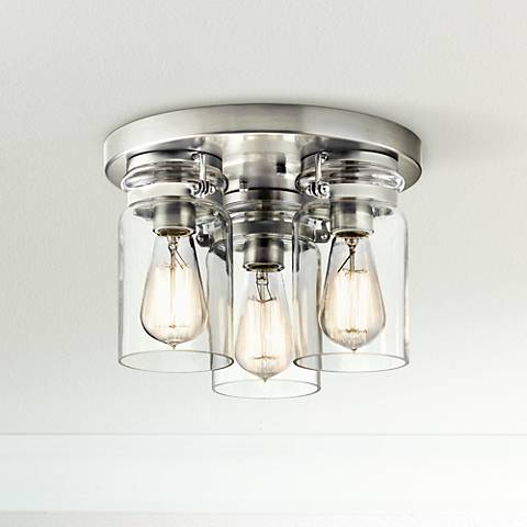 "Kichler Brinley 11""W Brushed Nickel 3-Light Ceiling Light"