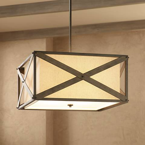 "Kichler Cahoon 25 3/4""W Iron Convertible 4-Light Pendant"
