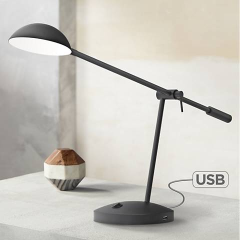 Mighty Bright LUX Lincoln Black Desk Lamp with USB Ports