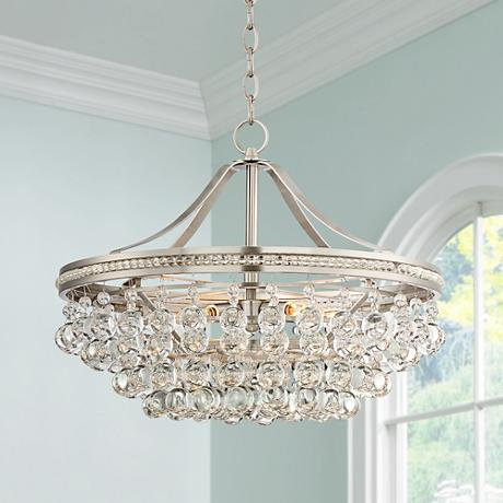 "Wohlfurst 20 1/4"" Wide Brushed Nickel Crystal Pendant Light"