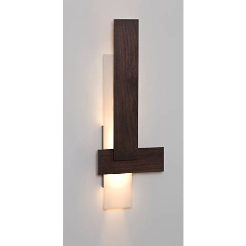 "Cerno Sedo 36"" High Dark Stained Walnut LED Wall Sconce"