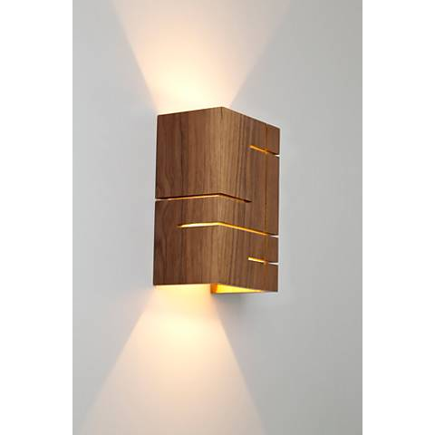"Cerno Claudo 8 1/2"" High Natural Walnut LED Wall Sconce"
