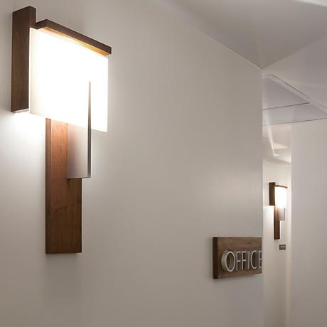 "Cerno Oris 24"" High Natural Walnut LED Wall Sconce"