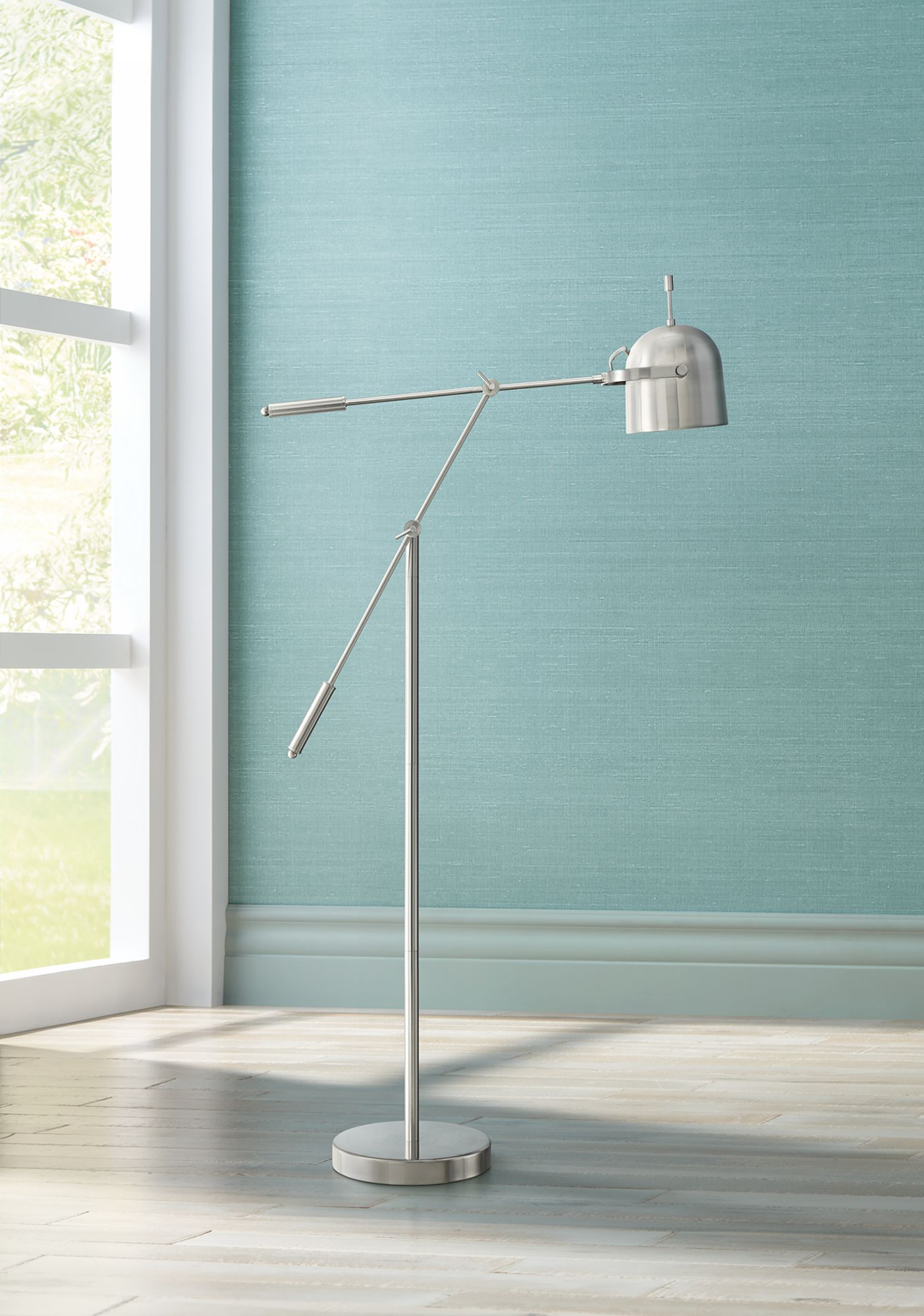 Lonnie Satin Nickel Boom Pharmacy Floor Lamp - #1K786 | Lamps Plus
