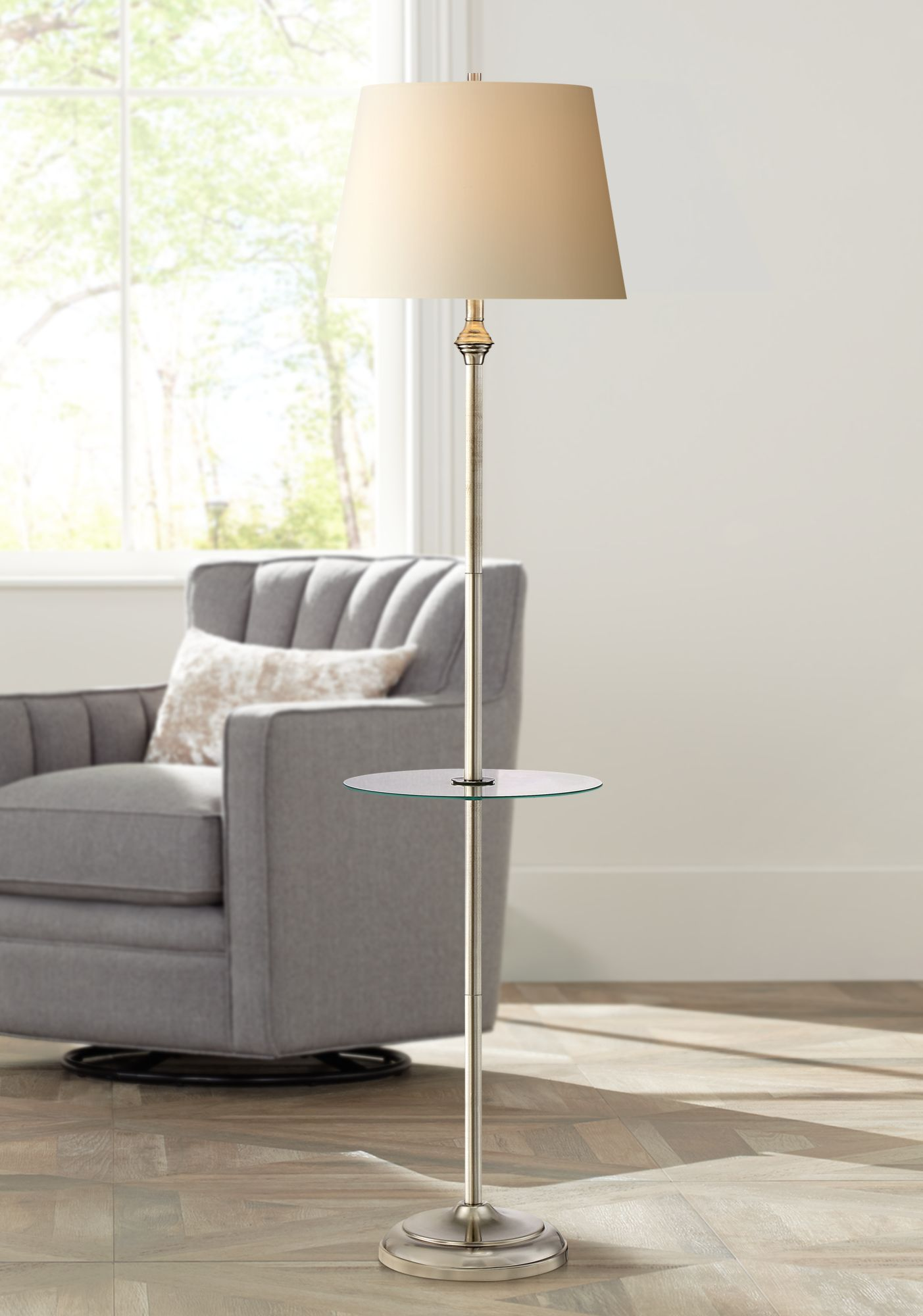High Quality Dayton Satin Nickel Floor Lamp With Glass Tray Table